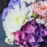 vase of hydrangea flowers with crysanthimums
