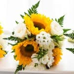 Sunflower and white rose bouquet