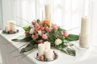 Unity candle floral spray for wedding