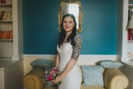Beautiful bride and small hand tied bouquet with wildflowers by Yvonne Cassidy Weddings