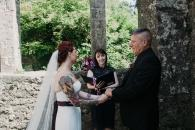Yvonne Cassidy performing an elopement ceremony in Loughcrew Estate